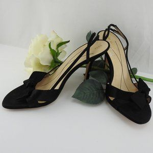 Kate Spade 7.5 Black Satin Slingback Heels Sandals